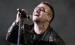 Bono of U2 performing at Wembley Stadium