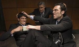 Businessmen arguing over money
