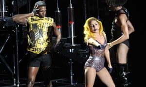 Hacked off ... alleged cyber-theft victim Lady Gaga (centre) performing last week.