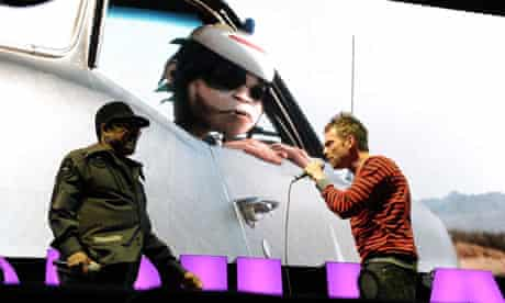 Bobby Womack and Damon Albarn of Gorillaz perform at Coachella 2010