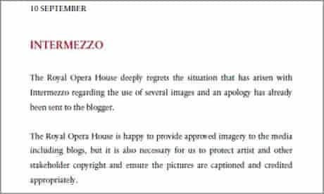 Halfway house ... The Royal Opera's press release following Intermezzo's publication of the exchange