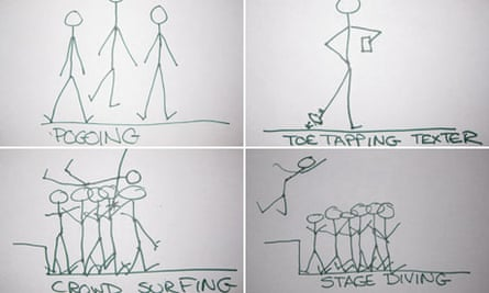 Stick men drawings from the indie professor