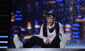 George Sampson covered in water after the dance routine that won him Britain's Got Talent in 2008