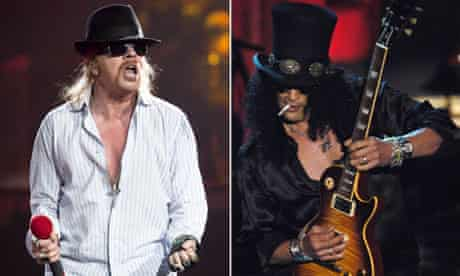 Axl Rose performs with the latest Guns N' Roses lineup and Slash onstage with Velvet Revolver.