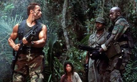 Gore vital … Arnold Schwarzenegger, left, and other cast members in Predator (1987).