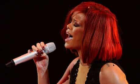 Rihanna performs at the Brit Awards 2011