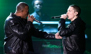 Battle royalty ... Eminem performs with Dr Dre at Grammy awards in February.