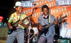 Biggie Tembo and David Mankaba of the Bhundu Boys performing