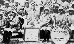 Louis Armstrong with the rest of the 'Waif's Home Colored Brass Band,' New Orleans, Louisiana.