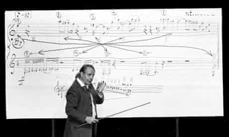 Composer Karlheinz Stockhausen lecturing