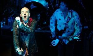 R.E.M. singer Michael Stipe on stage in Utrecht, Netherlands, on Saturday 21 June 2003