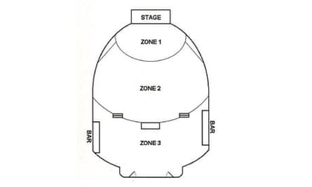 Audience zones in a concert hall