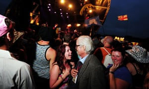 Alexander Chancellor mingles with the crowd at an Estelle gig