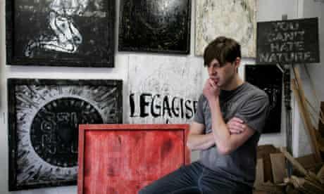 Mark Titchner in his studio