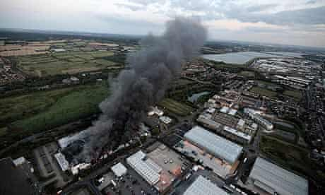 Smoke rises from Sony warehouse in Enfield