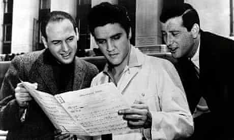 Mike Stoller, Elvis Presley and Jerry Leiber in 1957