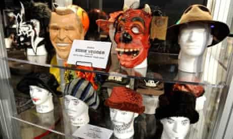Pearl Jam Destination Weekend memorabilia - Dubya and devil masks worn by Veddie on 2004 tour