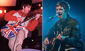 Noel Gallagher in 1995 and 2010