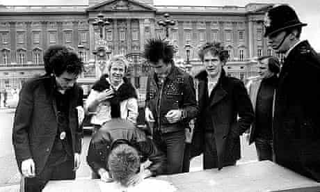 The Sex Pistols outside Buckingham Palace