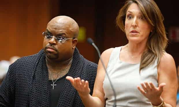 Cee-Lo Green alongside his lawyer, Blair Berk