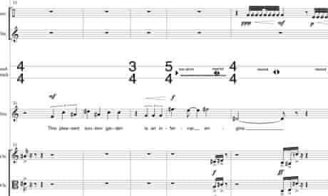 Detail from Michel van der Aa's score of the The Sunken Garden, premiering at ENO April 2013.
