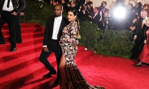 Kanye West with his girlfriend, Kim Kardashian, last week.