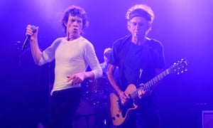 Mick Jagger and Keith Richards of the Rolling Stones during a surprise gig at Echoplex in Los Angele