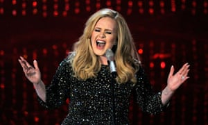 British singer Adele performs Skyfall at the Oscars ceremony.