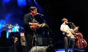 Mumford & Sons performing in Birmingham, Alabama, on 9 September.