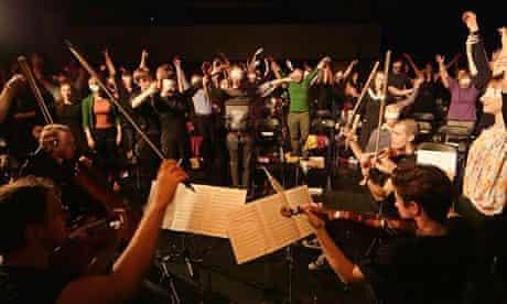 Hidden agenda … Phaedrus Ensemble perform for blindfolded concert-goers at Rich Mix in east London.