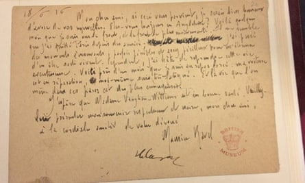 Ravel's letter to Vaughan Williams