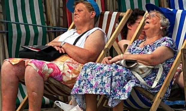 Sleeping ladies in deckchairs in Blackpool