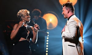 Sam Smith performs with Mary J Blige in New York in June.