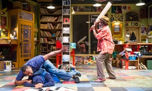 Fluidity … Lenny Henry, Joivan Wade and Larrington Walker in Rudy's Rare Records at Birmingham Rep.