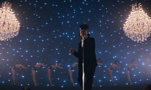 Bare cheek … a still from the Weeknd's Earned It – featuring Abel Tesfaye in front of a cabaret trou