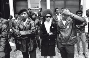 Howard Bingham photos: Black Panther co-founders Bobby Seale and Kathleen Cleaver at rally, 1968