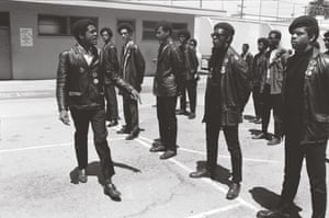 Howard Bingham photos: Bobby Seale leading Black Panther drills in Oakland, California