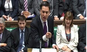 Ed Miliband addressing the House of Commons during Prime Ministers Questions, in London