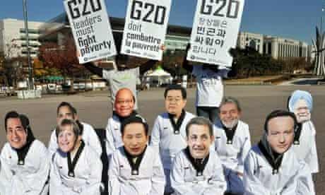 Oxfam activists wearing face masks depic