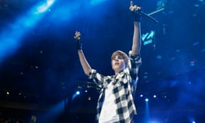 Canadian singer Justin Bieber performs during the Z100 Jingle Ball in New York