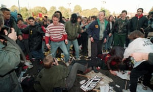 Protestors clash during an anti-racist march in Welling, south-east London, in 1993.