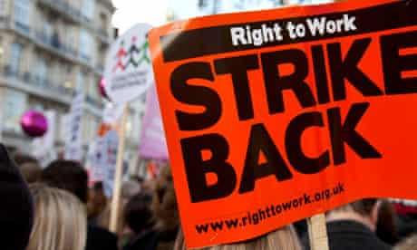 'Strike back' placard, London, 30 November 2011