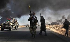 Libyan rebels in Ras Lanuf