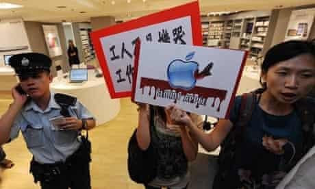 Protestors demonstrate against Apple