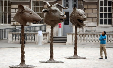 Circle of Animals/Zodiac Heads sculpture