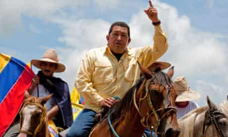 Hugo Chavez rides a horse