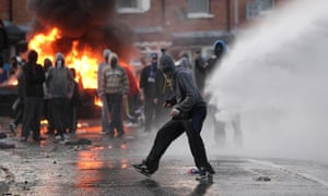 Nationalist youths clash with police in the Ardoyne area of North Belfast