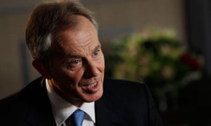 Former British Prime Minister Tony Blair speaks during an interview with Reuters in London