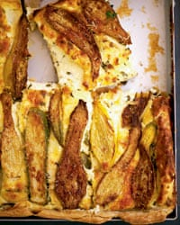 Nigel Slater's Courgette and Ricotta tart