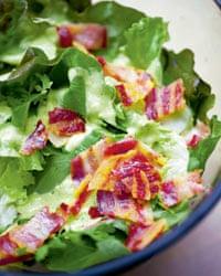 Nigel Slater's lettuce and hot bacon salad